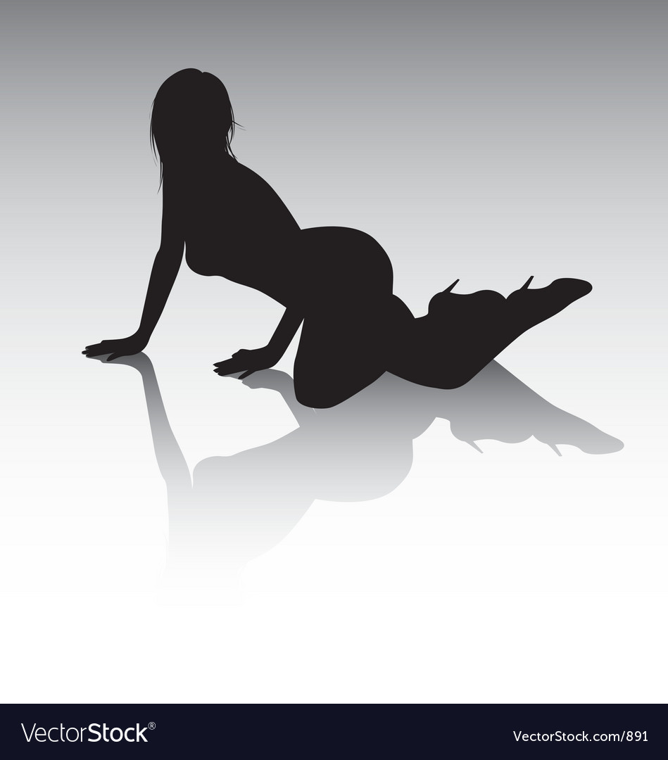 Sexy silhouette lying down vector image