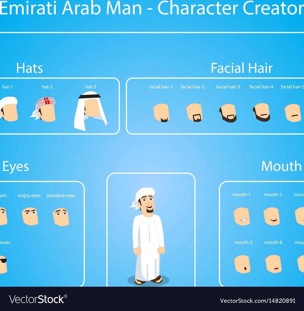 Emirati Arab Man Character Creator Royalty Free Vector