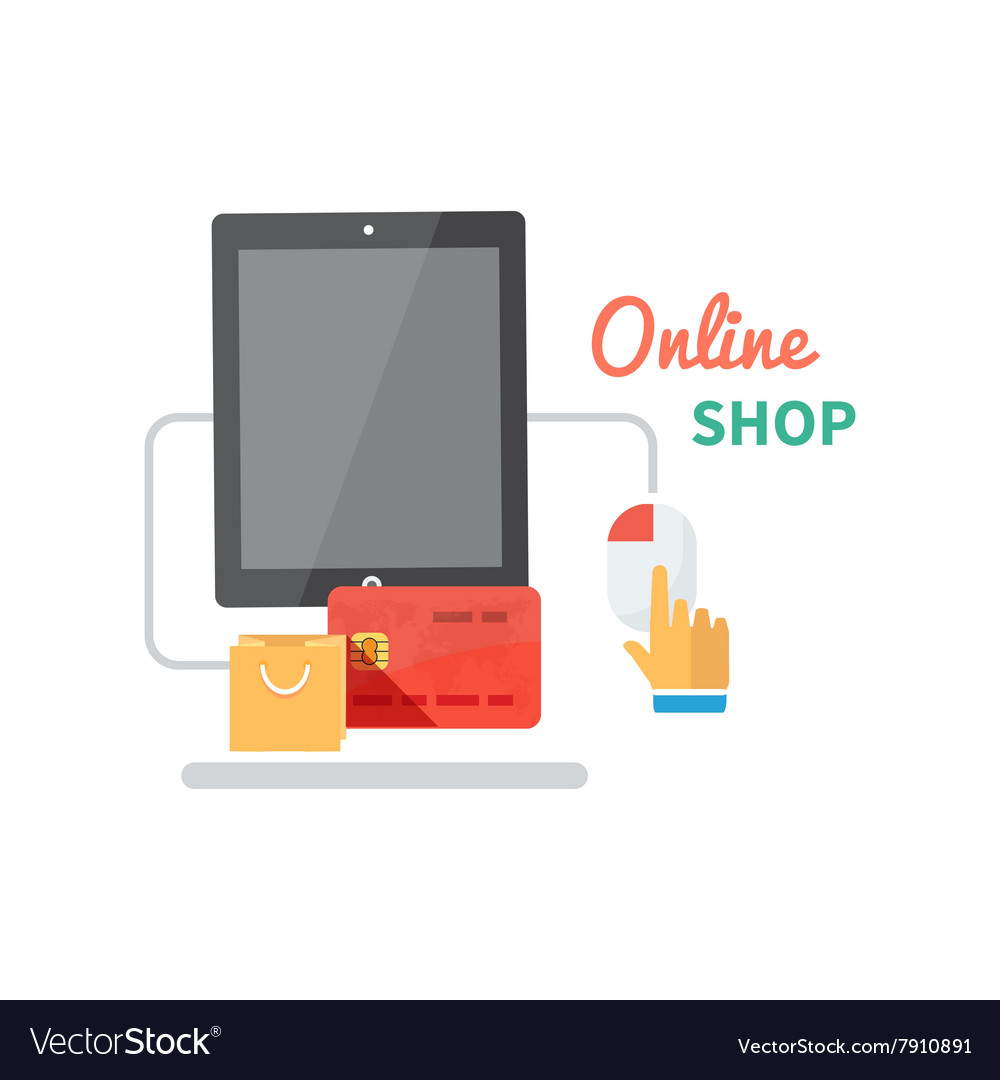 Online Shopping and E-commerce Concept vector image