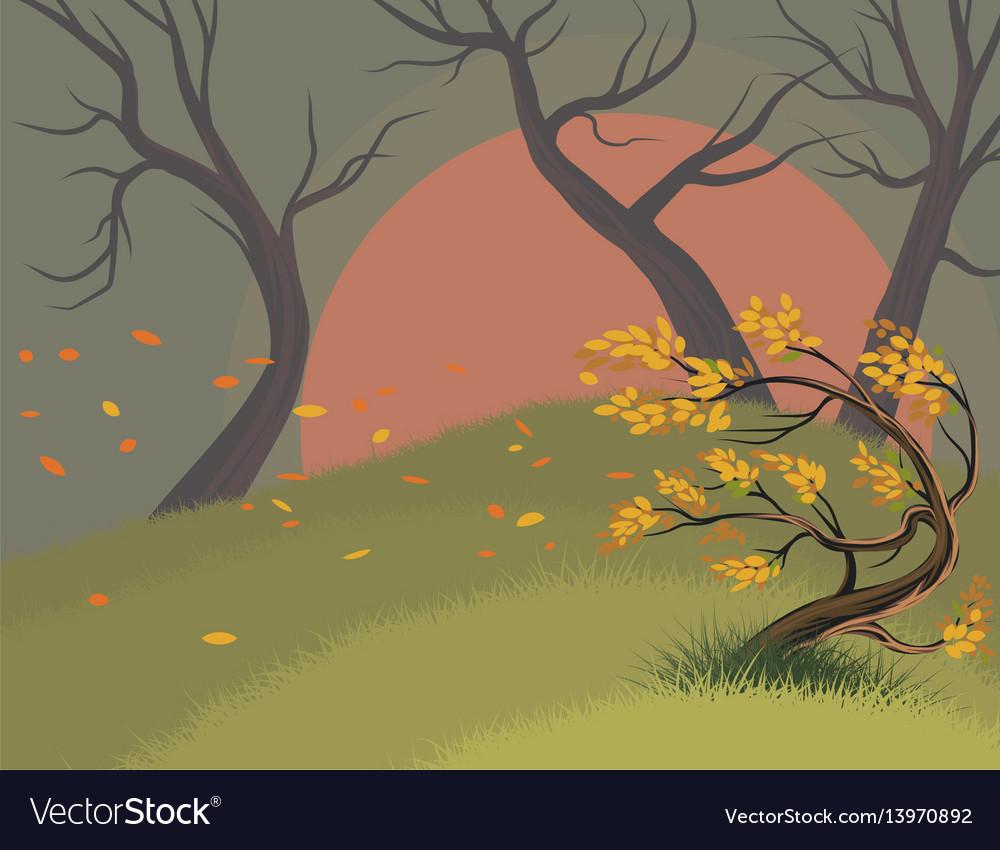 Leaves falling scene