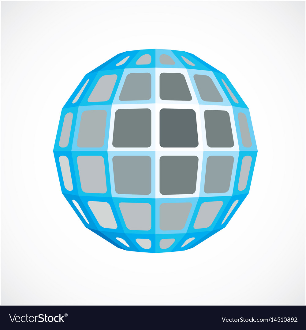 Blue faceted orb created from squares dimensional vector image