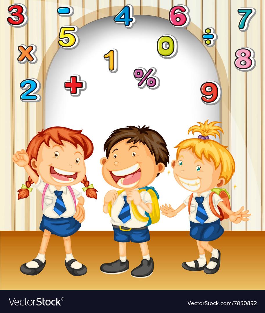 Boy and girls in school uniform vector image