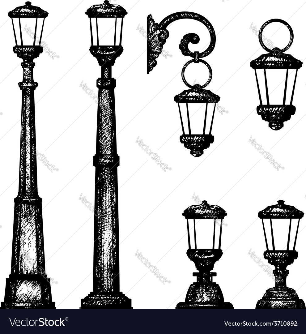 Sketch of street light drawing Royalty Free Vector Image for Street Lamp Drawing  146hul