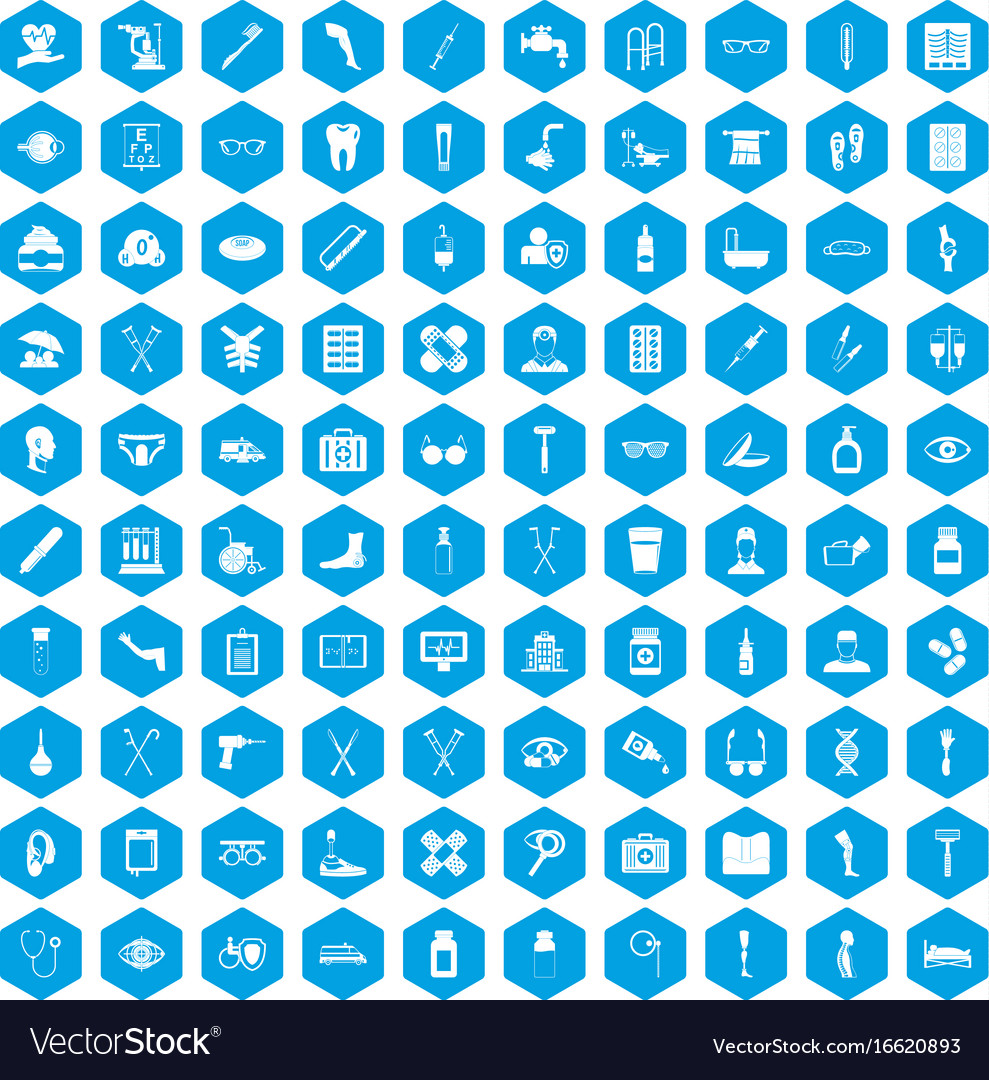 100 disabled healthcare icons set blue vector image