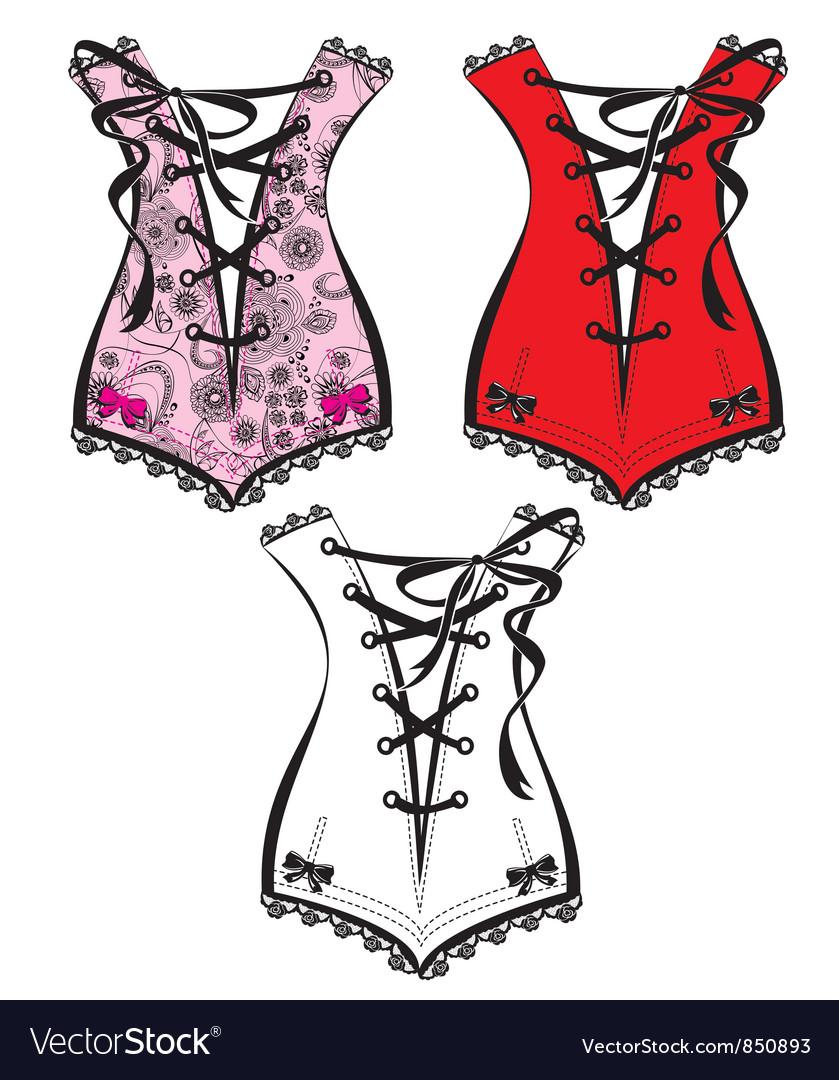 Set of beautiful retro clothes - corsets vector image