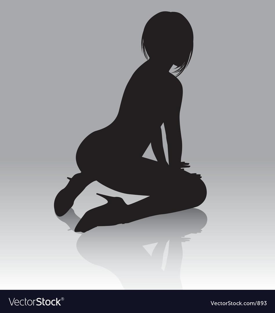 Sexy silhouette kneeling vector image