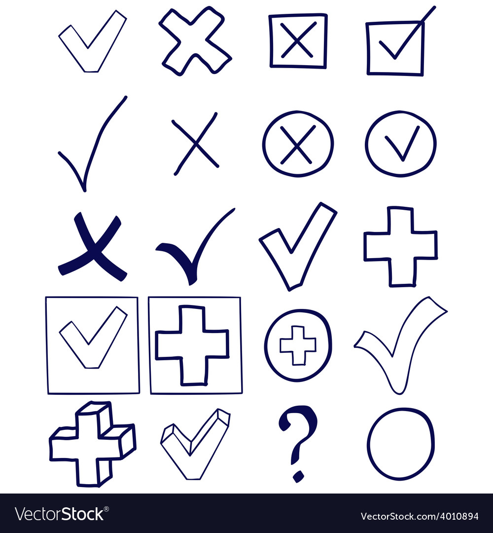 Checkmarks and checkboxes hand drawn sketch vector image