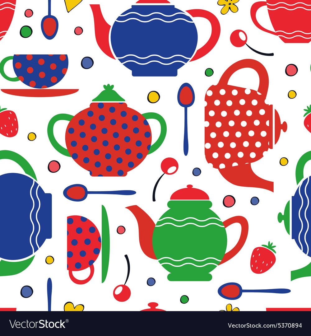 Colorful tea party seamless pattern vector image