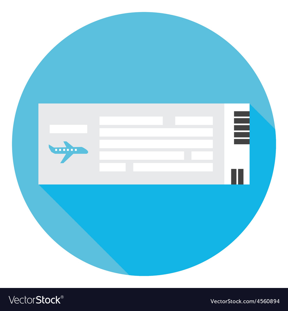 Flat Travel Airplane Ticket Circle Icon with Long vector image