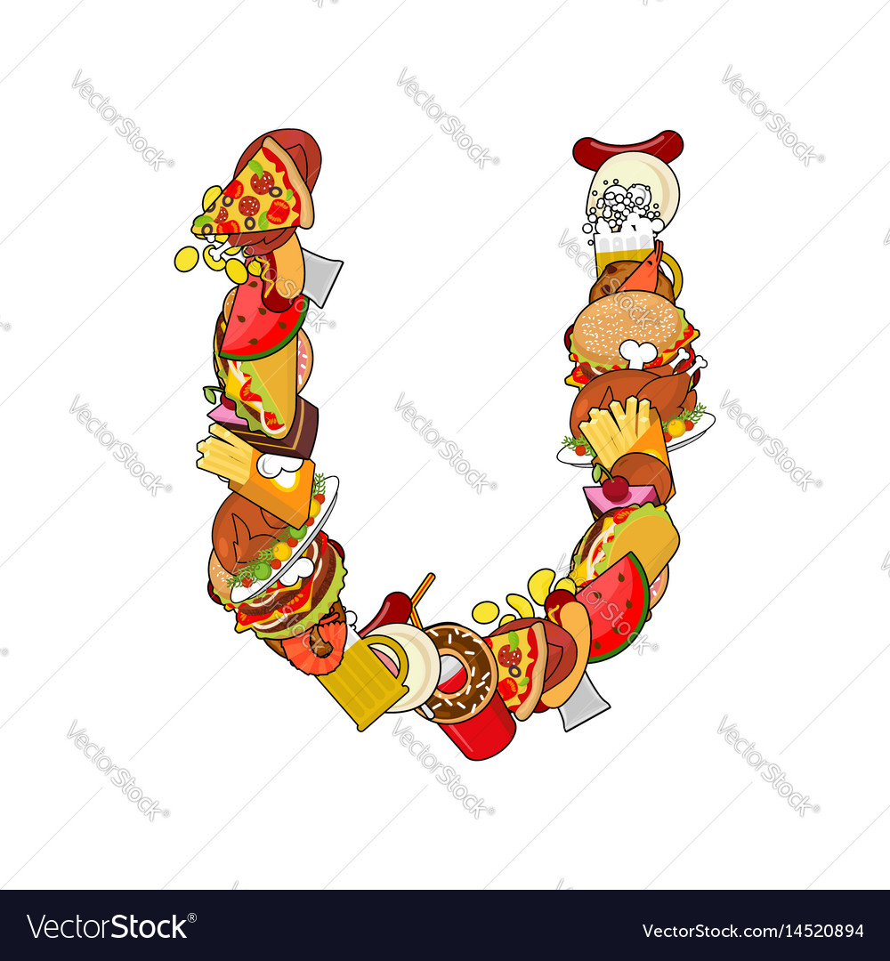 Letter u food edible sign alphabet from pizza and vector image