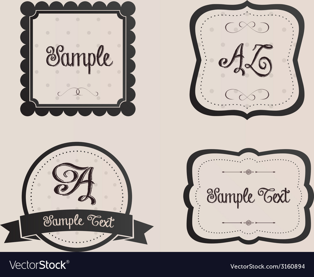 Ornate Shabby Chic Frames Ribbons Signs Vector Image