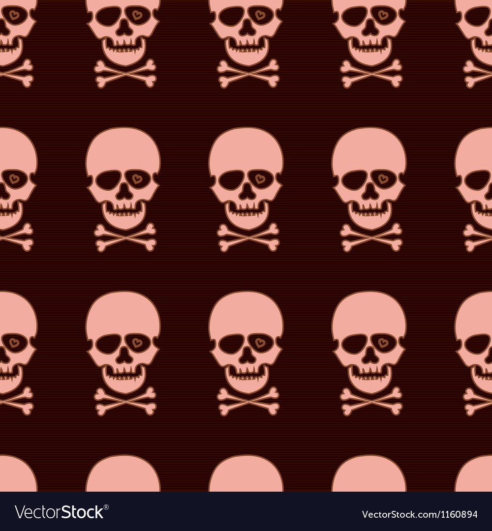 Seamless pattern with rose skull vector image