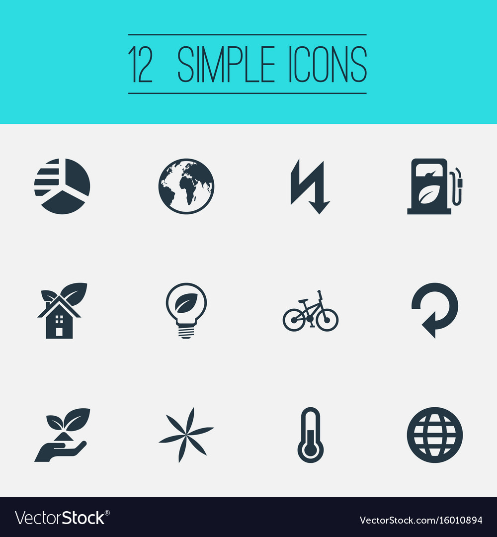 Set of simple ecology icons elements recycling eco vector image