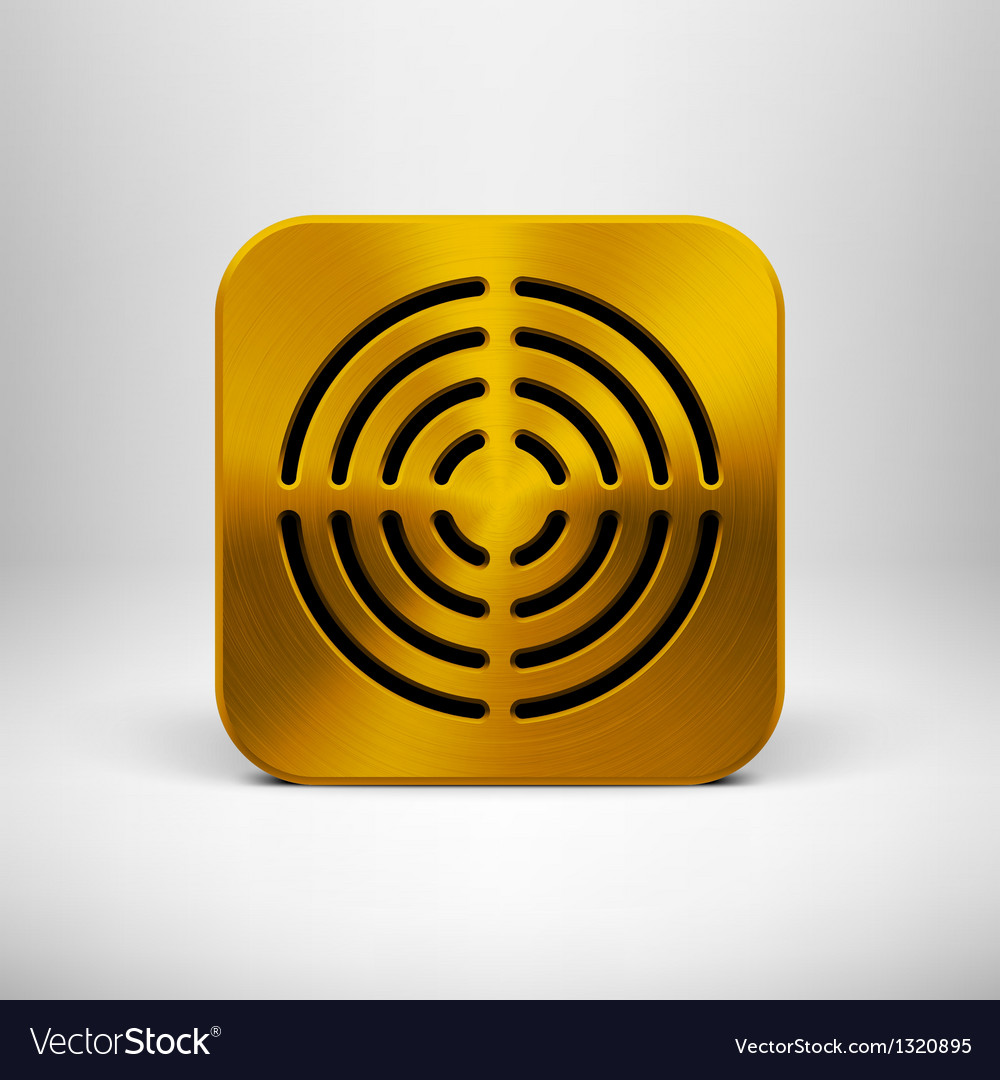 Technology App Icon with Gold Metal Texture vector image