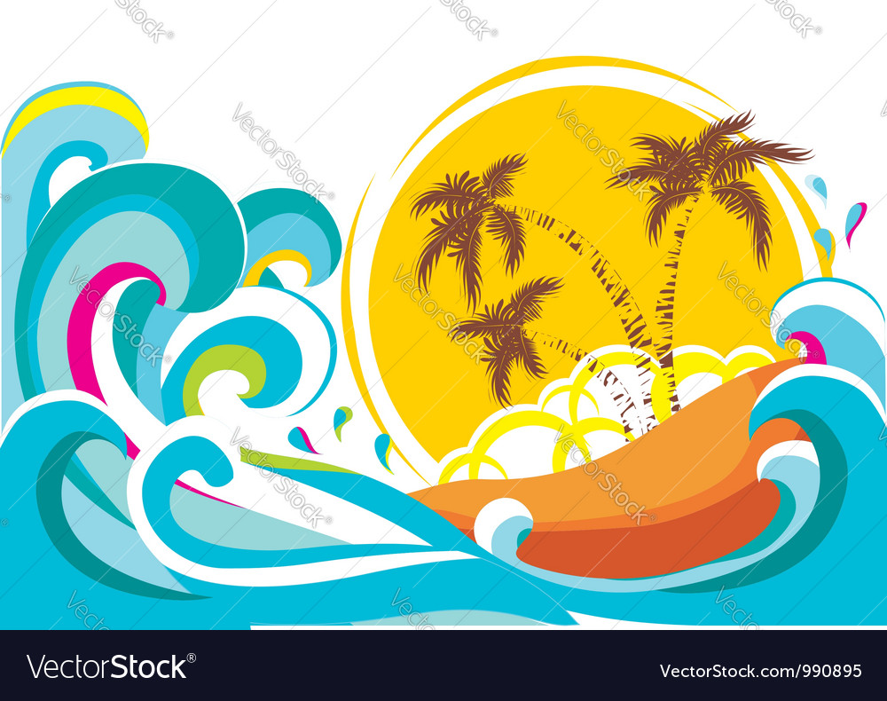 Tropical island with waves background vector image