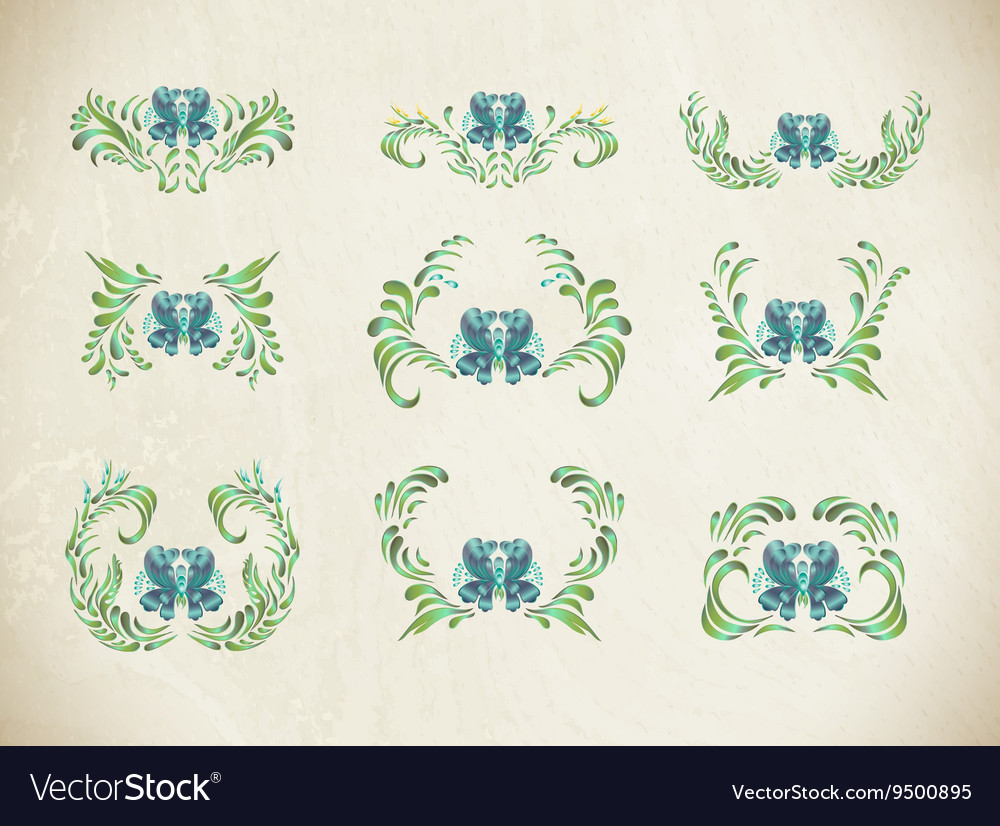 Blue flowers Floral ornament vector image
