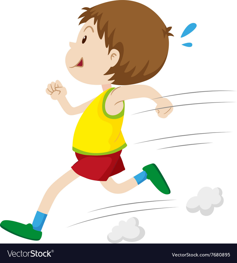 Little boy running fast Royalty Free Vector Image