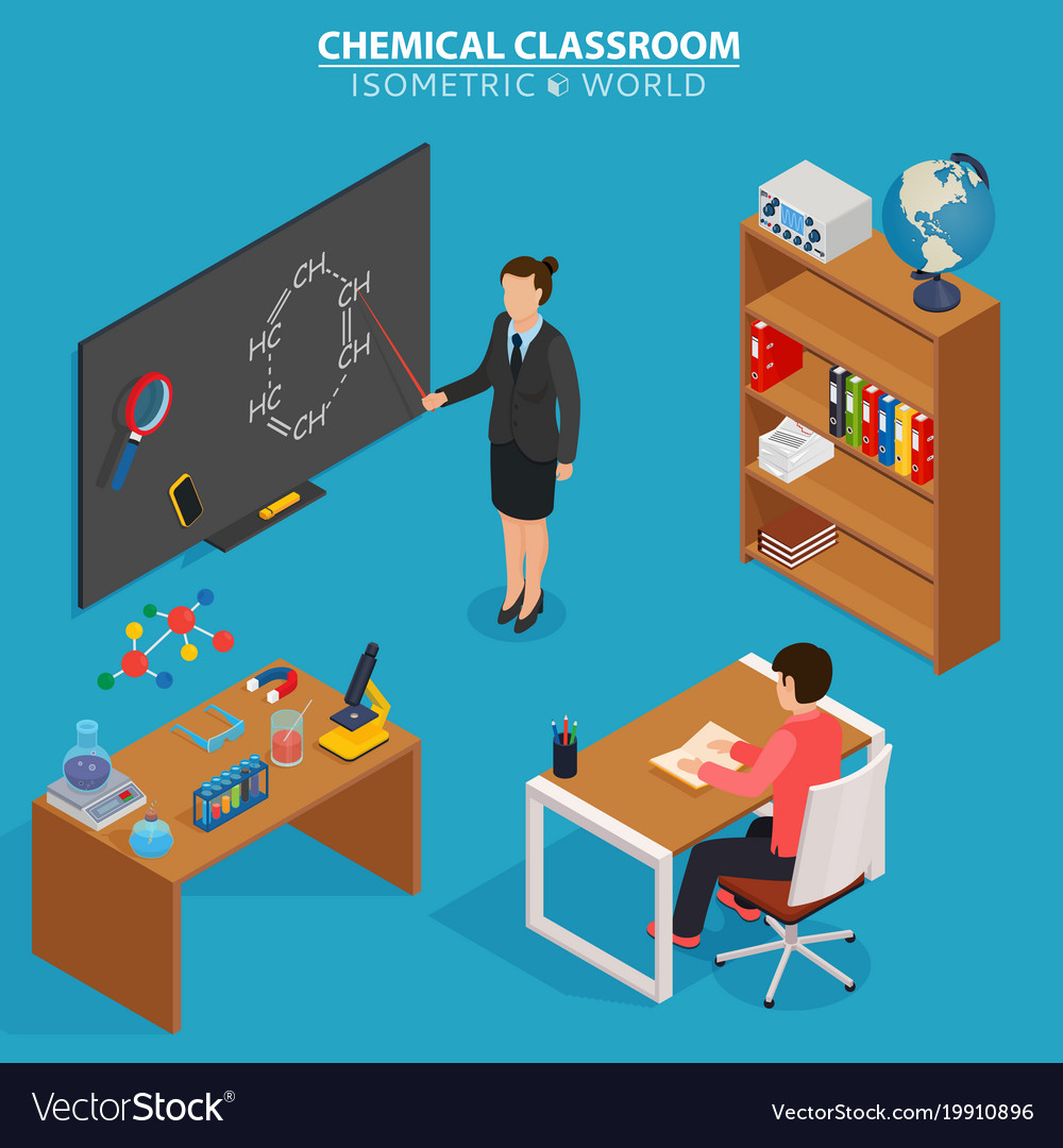 Chemical classroom school education isometric vector image