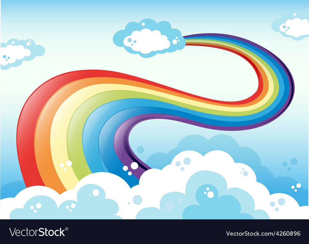 Rainbow and sky vector image