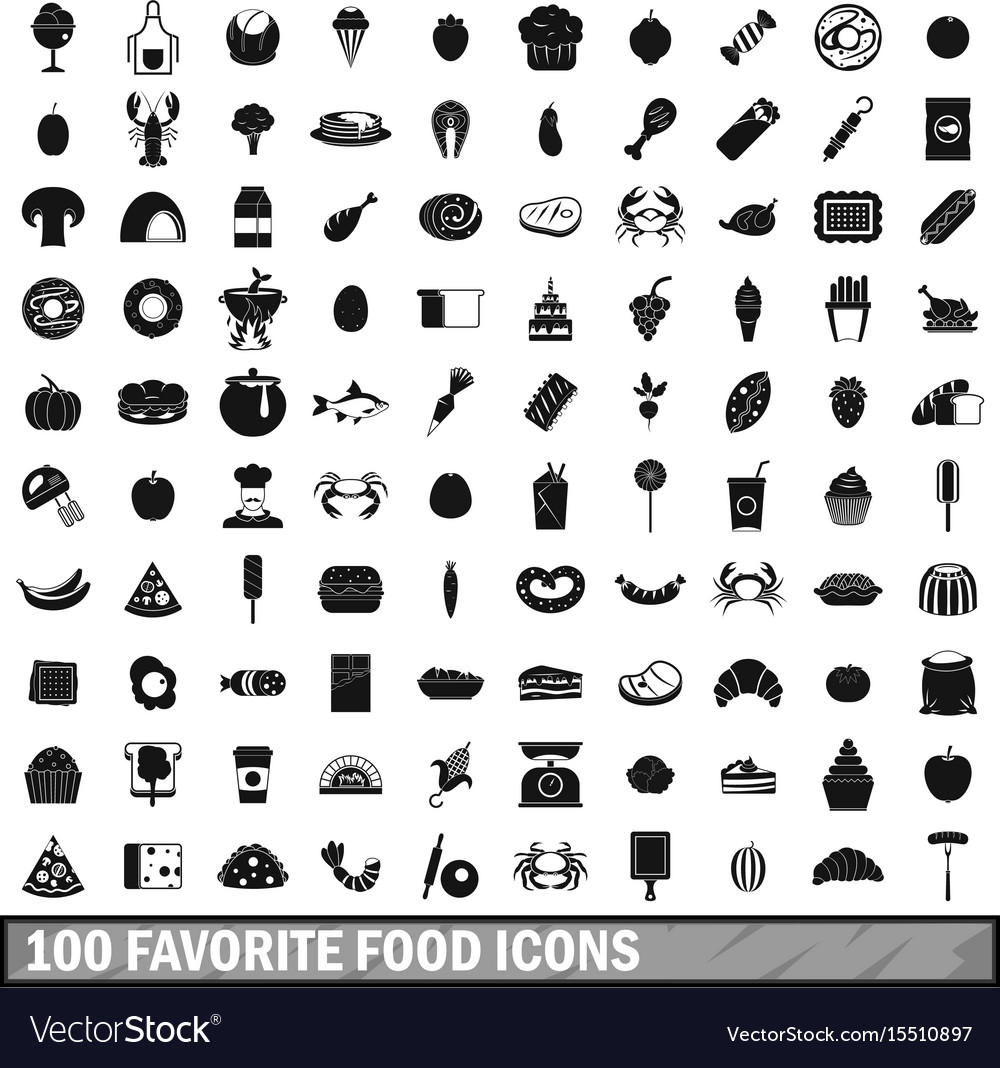 100 favorite food icons set simple style vector image