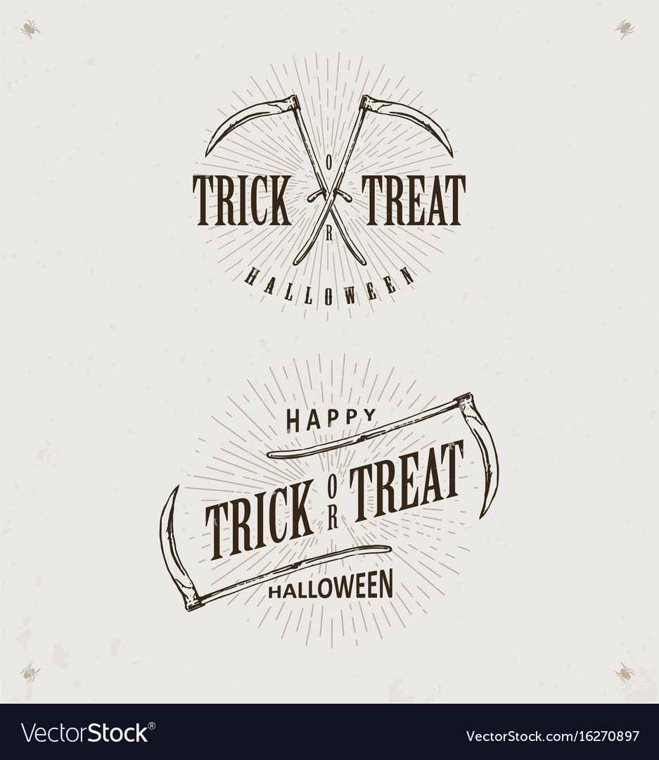 Halloween trick or treat logos vector image