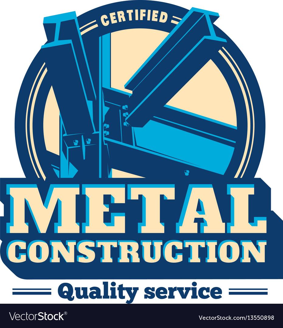 Building construction metal frame logo vector image