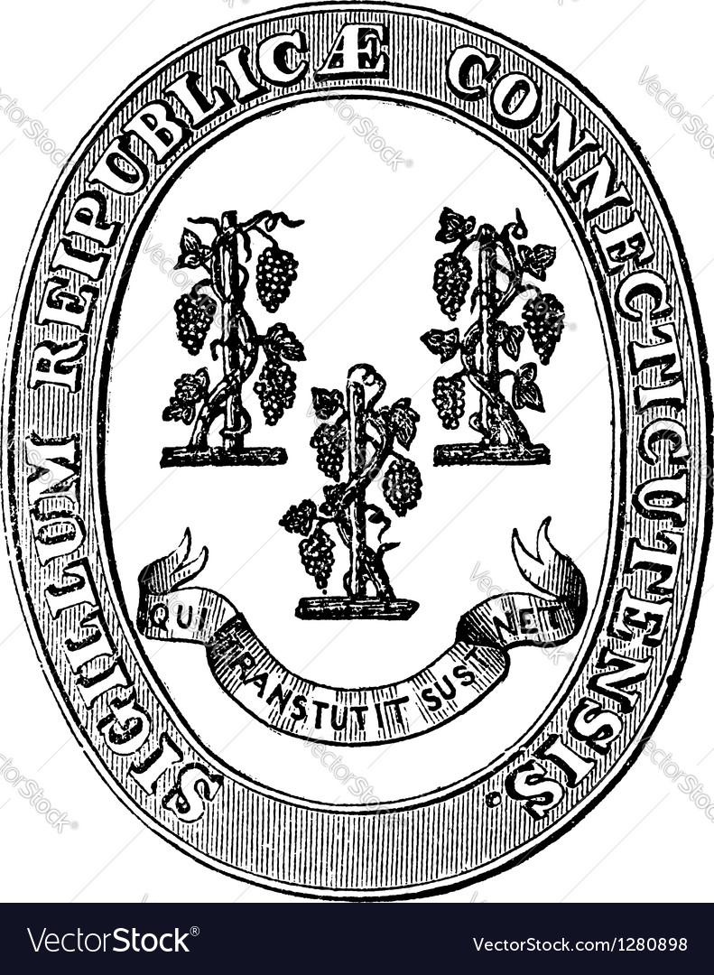 Connecticut Seal vintage engraving vector image