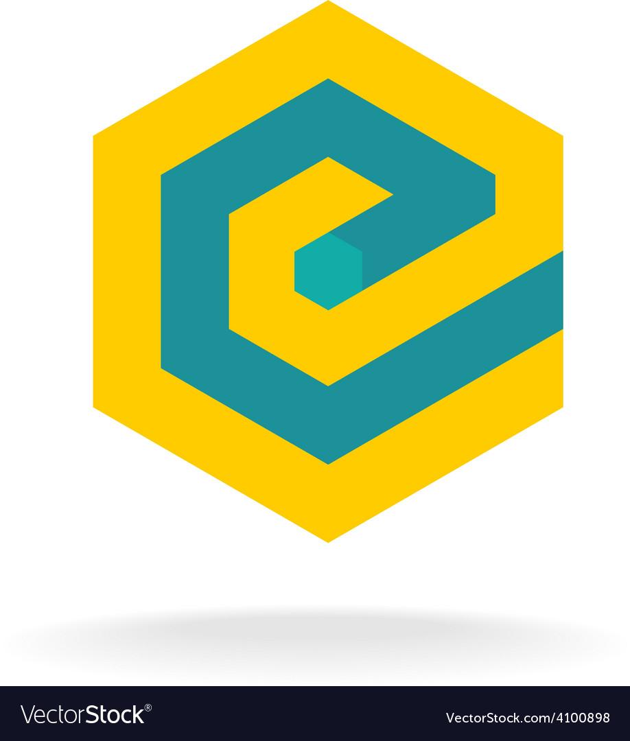 Letter E logo template Technical hexagonal style vector image