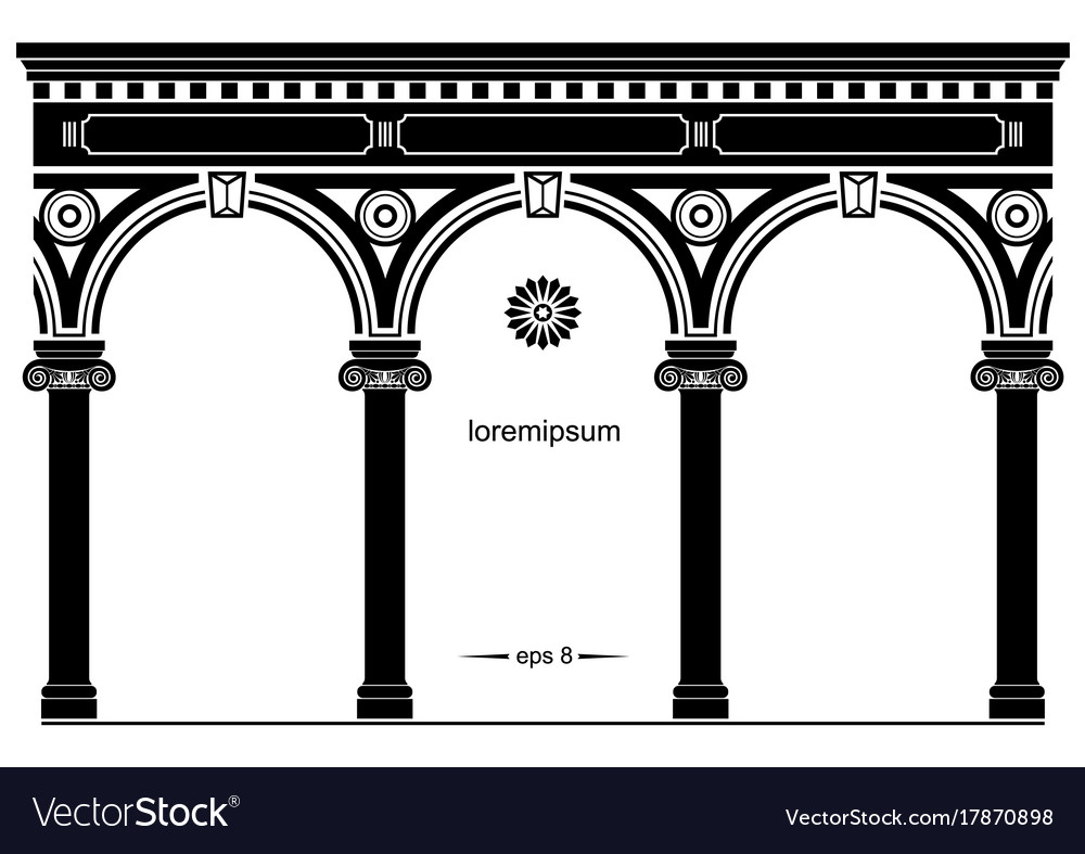 Silhouette of arched classical facade vector image