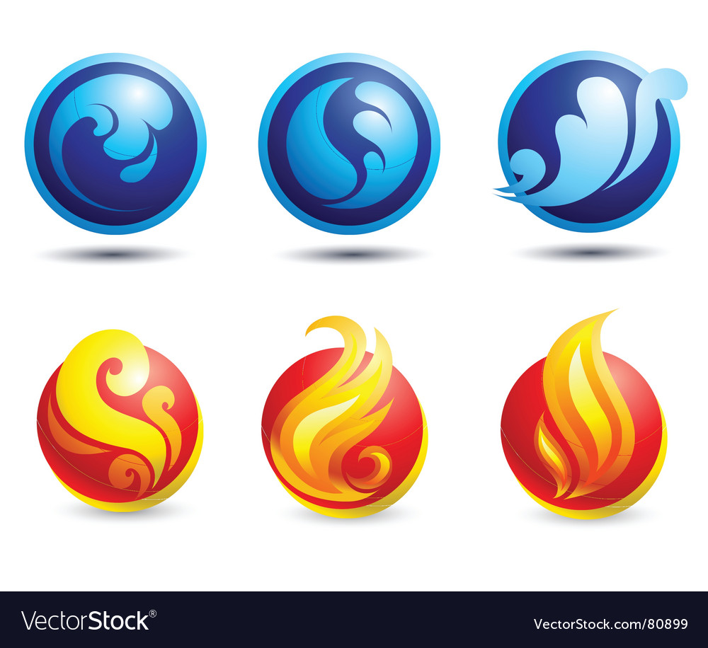 Fire and water web icons vector image