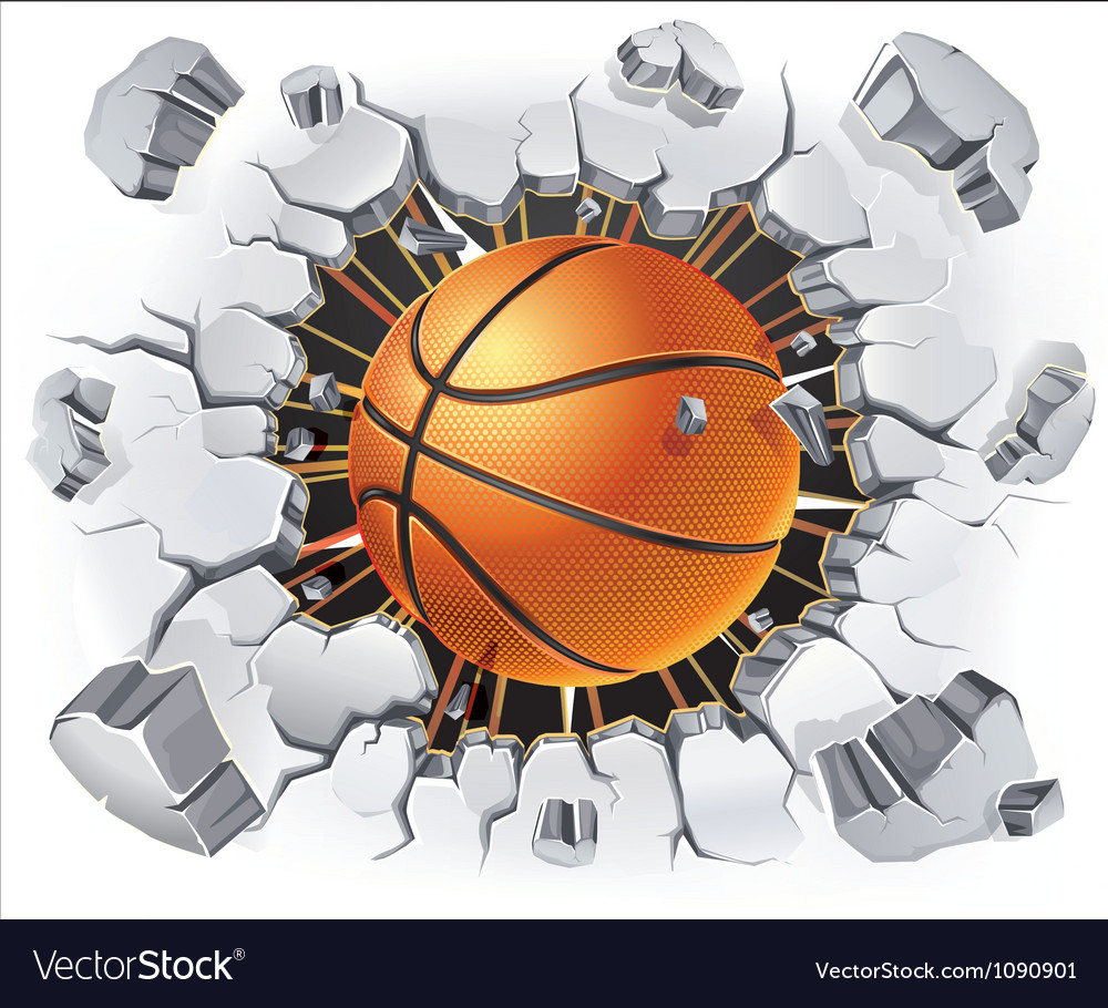 Basketball and Old Plaster wall damage vector image