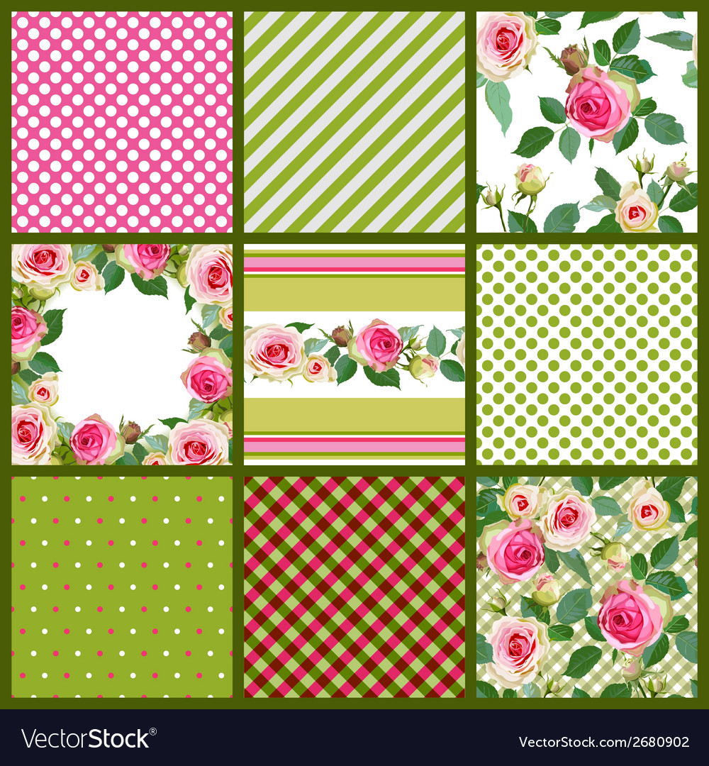 Set of patterns and floral seamless with roses vector image