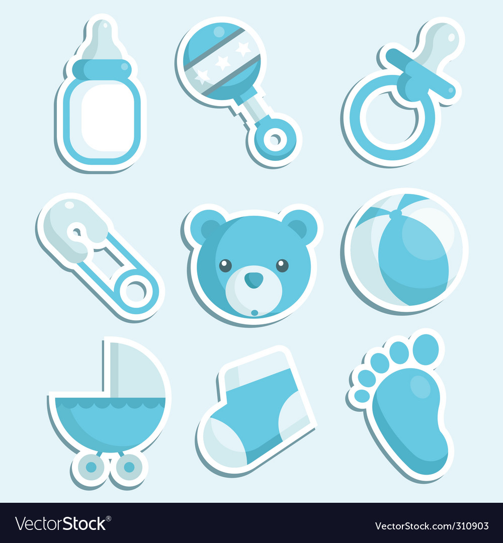 Baby boy icons vector image