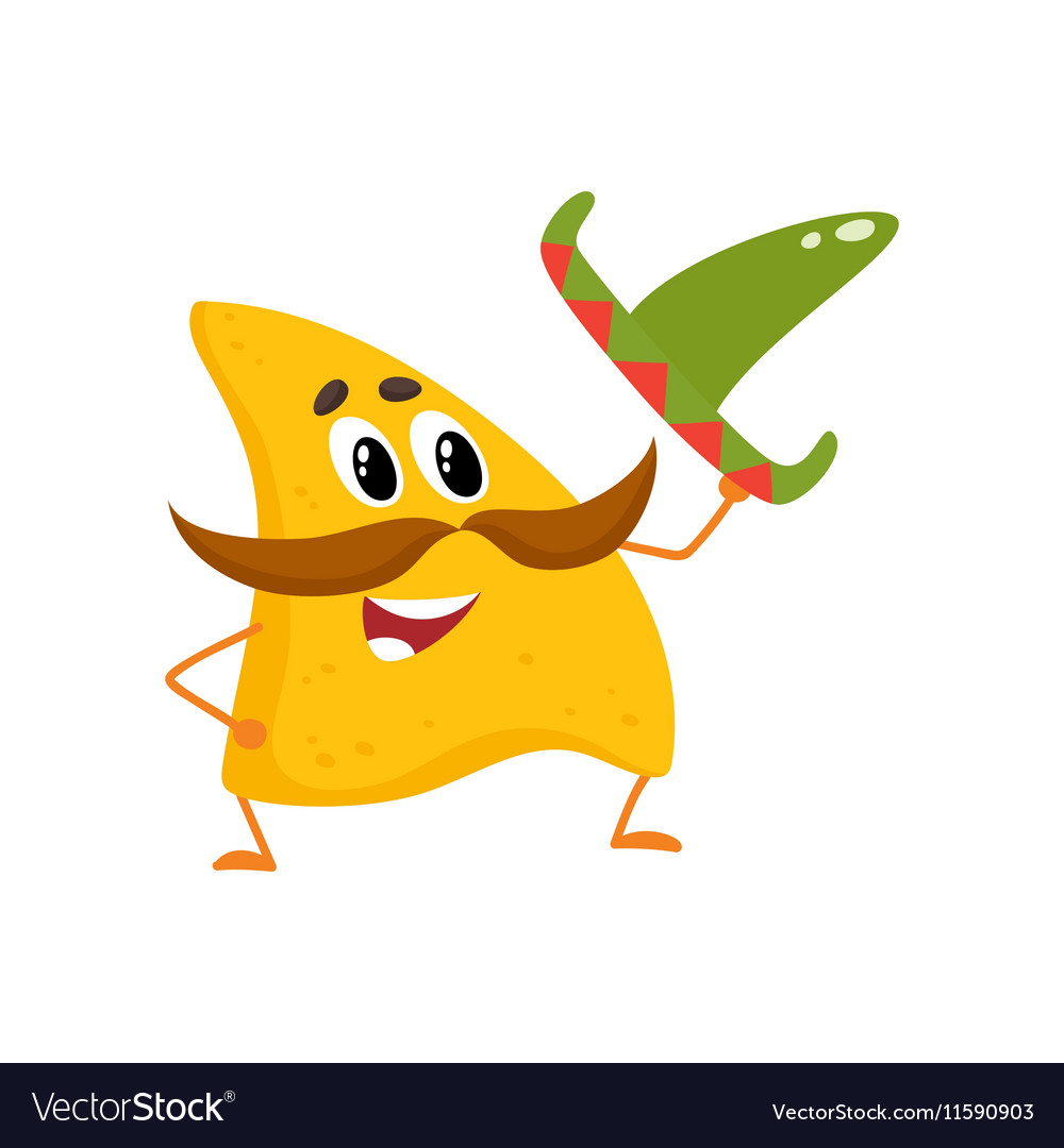 Smiling nachos with thick moustache and Mexican vector image