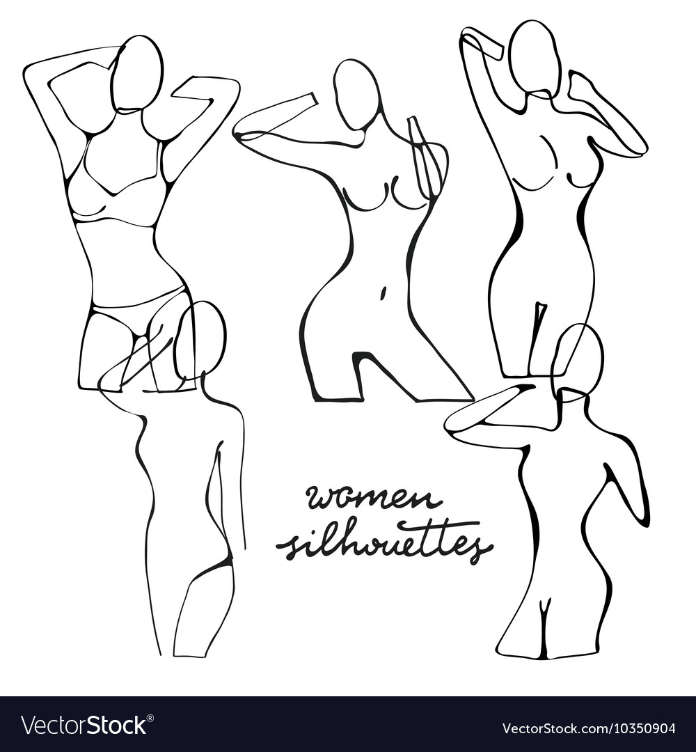 Beautiful black and white nude woman silhouettes vector image