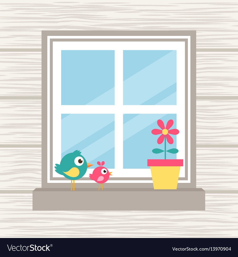 Birds flower and window on the wood background vector image
