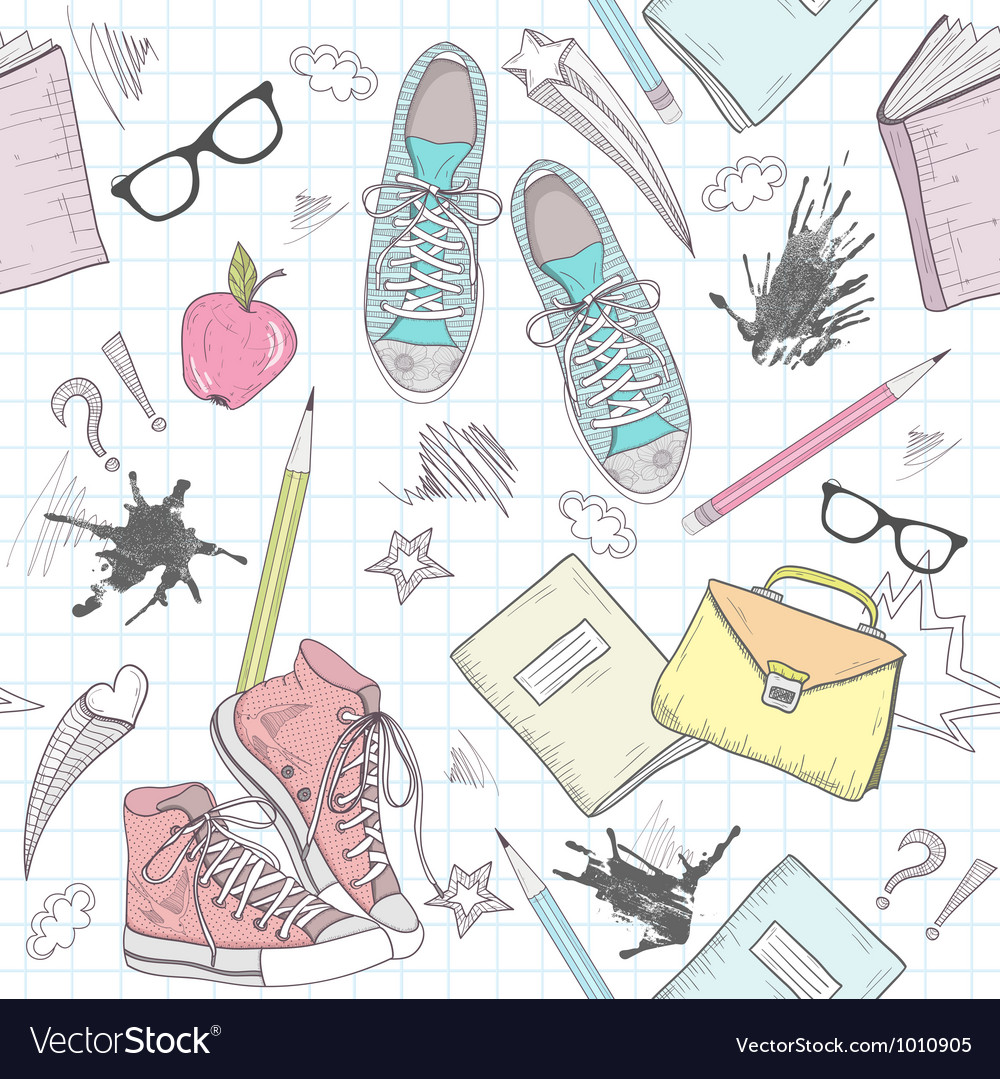 Cute school abstract seamless pattern vector image