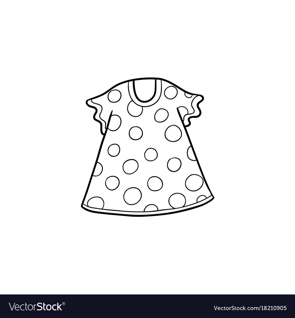 Flat cartoon kid girl dotted dress vector image
