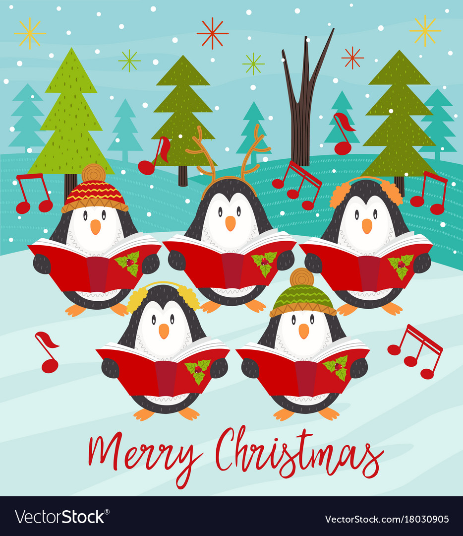 Merry christmas card with choir penguins vector image