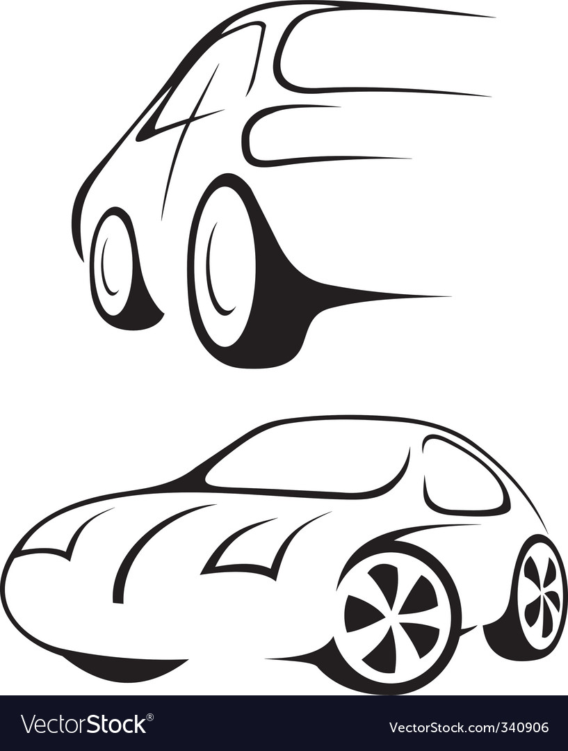 Car line drawing vector image