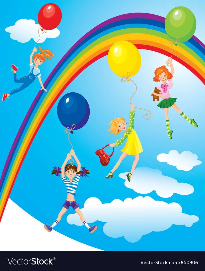 Girls flying away on balloons on sky with rainbow vector image
