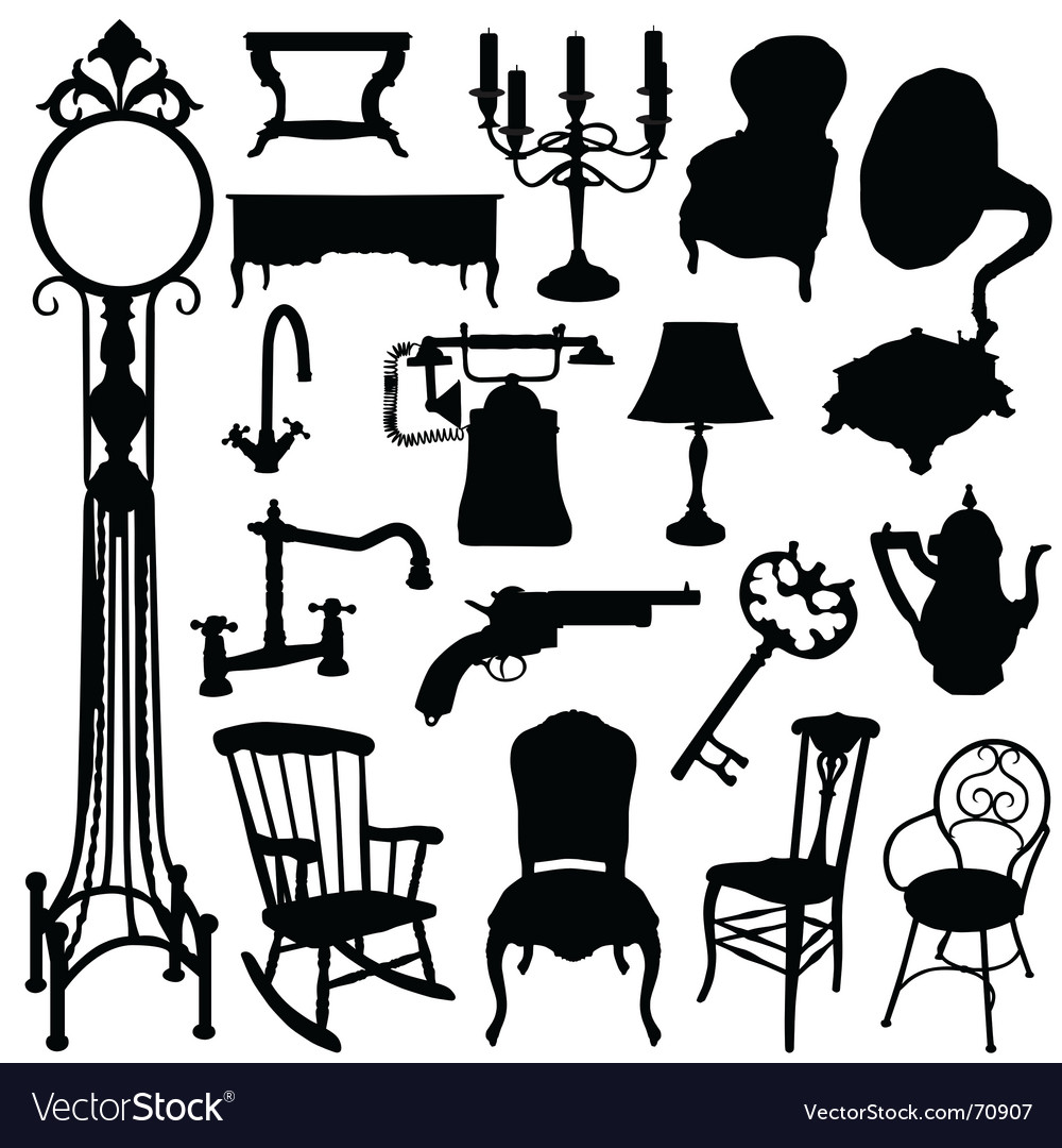 Antique chair silhouette - Antique Objects Vector Image