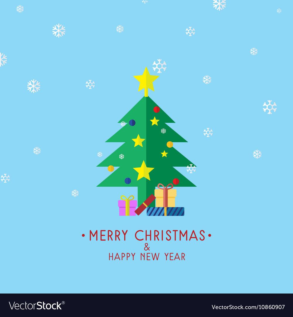 Christmas Tree With Gifts Christmas Card vector image