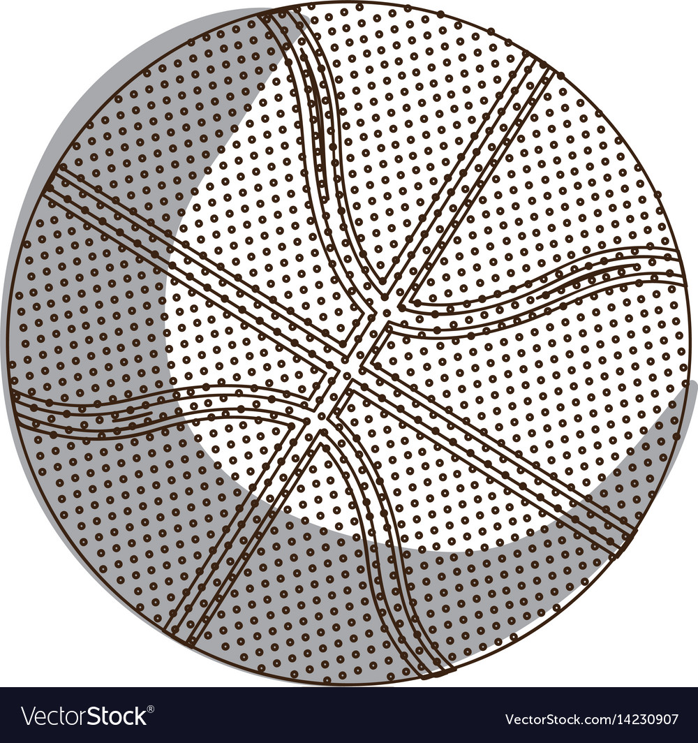 Silhouette basketball ball in monochrome dots vector image