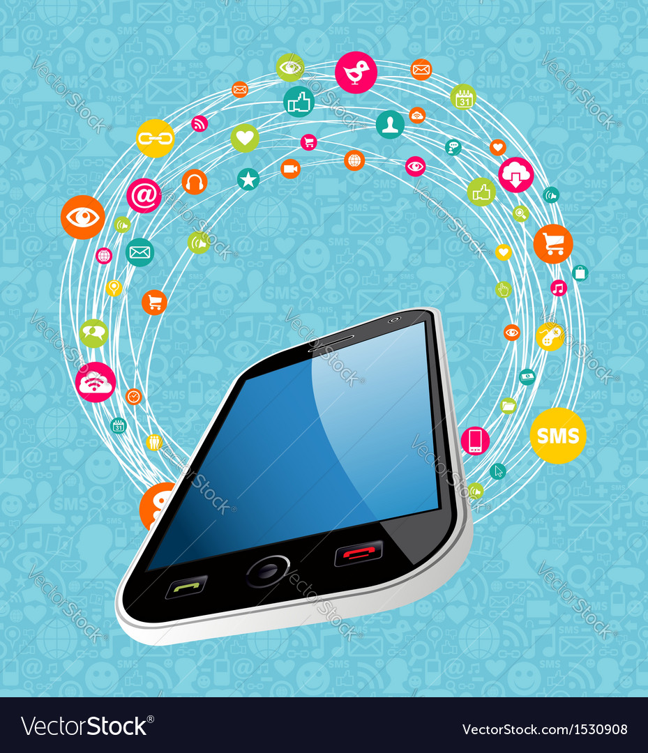 Mobile social media concept vector image