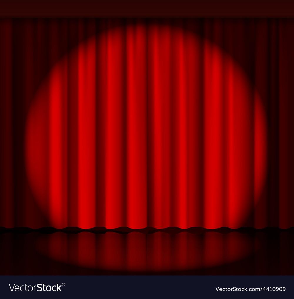 Stage curtains spotlight - Spotlight On Stage Curtain Vector Image