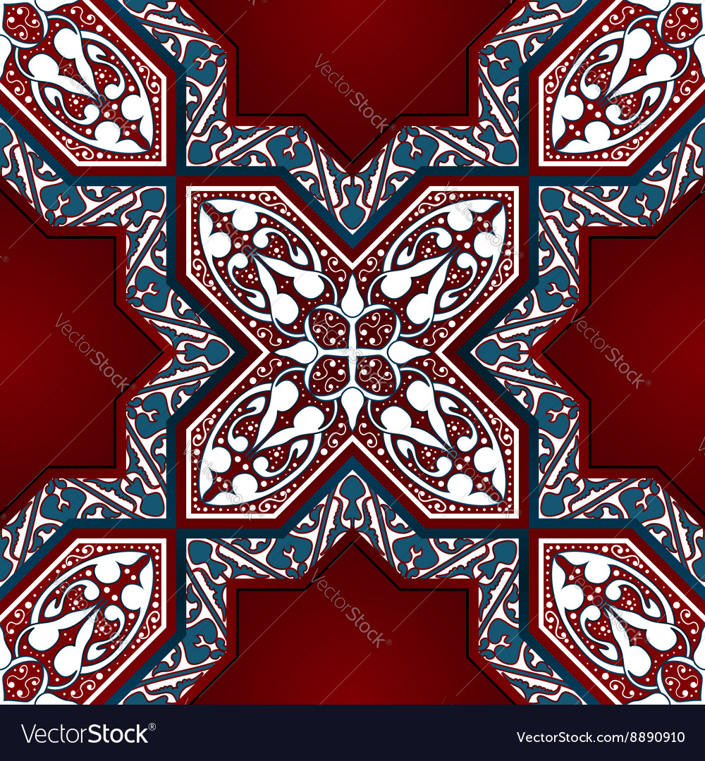 Arabic Floral Mosaic Seamless Pattern vector image