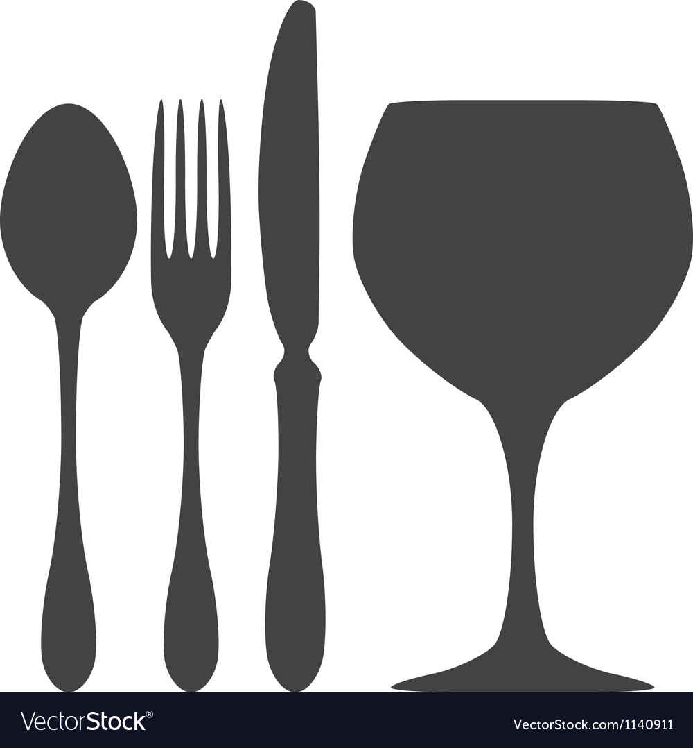 Cutlery spoon knife fork glass vector image