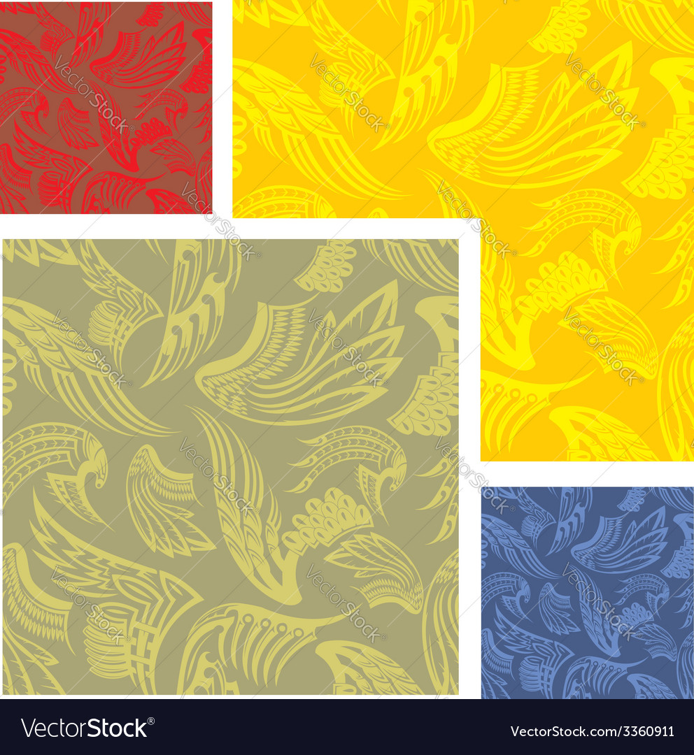 Wings - seamless pattern set vector image
