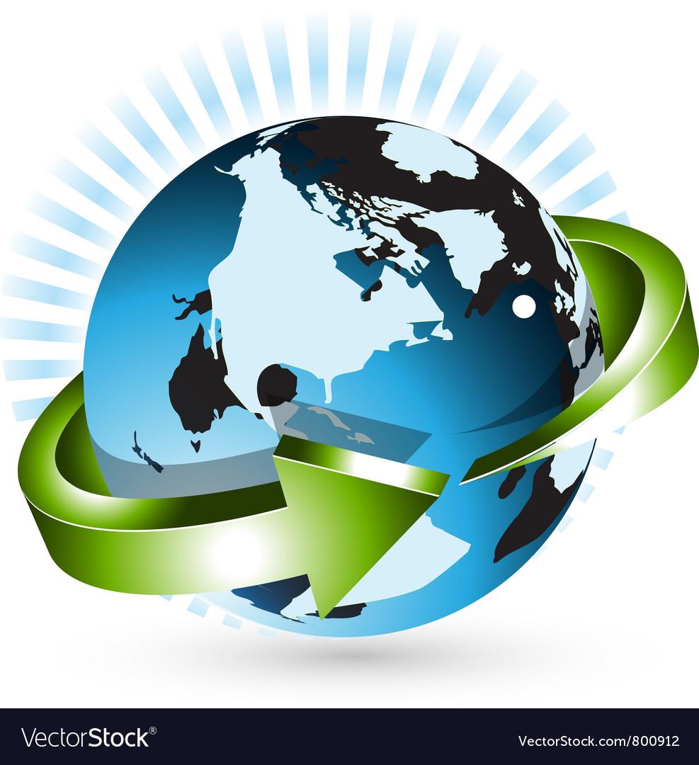 Globe with arrow vector image